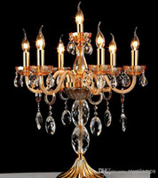 Wholesale 7 arms large crystal candelabra lamps gold clear Restaurant led candle holder table lamps wedding candelabrum dining room bar table light