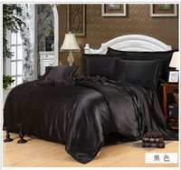 brand bedding sets - Solid Color Home Textile Bed sheet Duvet cover Pillowcase bedding set queen king size White black Silk Bedclothes Set brand in a bag
