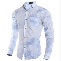 batik dyes - 2016 explosion models high quality D blue and white tie dye printing men s casual long sleeved shirt