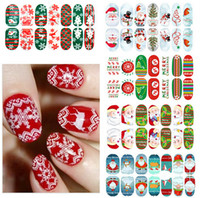 Wholesale Xmas Nail Art Stickers Full Cover Nail tips sticker For Fashion Luminous Finger Beauty