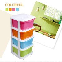 Wholesale Four drawer storage cabinets plastic candy colored children s bedroom lockers finishing cabinet drawers