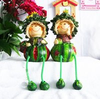 Wholesale and retail handcraft painted resin table ornament one pair of watermelon shape and long leg dolls