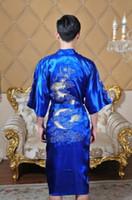 Wholesale Chinese men s Satin Polyester Embroidery Robe Kimono Nightgown Dragon Sleepwear M L XL XXL color