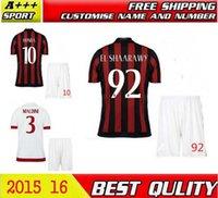 Tailandia de la calidad MENEZ 15 16 camisetas de fútbol Jersey MALDINI MENEZ HONDA MONTOLIVO 2016 MILAN Inicio Rojo Negro libre modificó