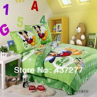 Wholesale Lace Cotton Twin Sheets - Mickey mouse dog green cotton bedding sets for twin full beds with lace bed sheet duvet cover bedclothes 4 5pc comforter sets