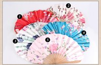 Wholesale Handmade Bamboo Hand Fan With Colorful Artificial Silk Chinese Style Vintage Wedding Fan Bridal Accessories Classic Women s Fan Cheap