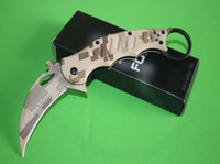 Wholesale Camouflage Version Fox Karambit tk Folding blade knife Aluminum Fighting Trainer tactical knife knives with retail box For sale