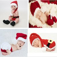 baby santa photos - 3 sets Handmade Crochet Christmas Hats Set Costume Hat Diaper Pants Set Newborn Baby Photo Props Toddler Santa Claus Photography Props