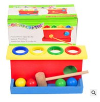 Wholesale Wooden Punch Ball Pounding Bench Hammer Hit Baby Children Preschool Educational Toy TOP646