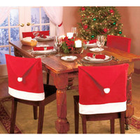 accessories dinner sets - 2016 New year Santa Red Hat dining Chair Covers Christmas Decorations Dinner Chair Xmas Cap Sets decoracion navidad