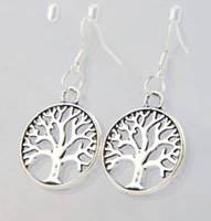 Dangle & Chandelier antique fishes - 2016 Antique Silver Tree Of Life Charm Earrings Silver Fish Ear Hook Chandelier E463 x40mm