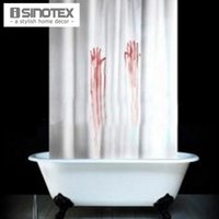 Wholesale Shower Curtains Bathroom Polyester Bath Fabric Blood Fingerprint Waterproof Machine Washable cm With Plastic Hooks