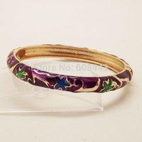 achat en gros de bracelet en or d'émail antique-Gros-BR247 Bohême Antique Gold chinois cloisonné Vintage Flore Anmials émail Bracelet manchette bijoux D6cm W0.8cm