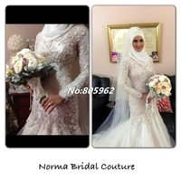muslim bridal gown - Custom madeLace High Neck Tulle Mermaid Wedding Dresses Beading A Line Long Sleeves Muslim Bridal Gowns Dubai Arab Wedding