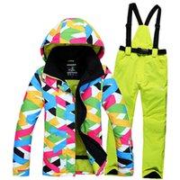Wholesale winter warm women ski suits fashion waterproof windproof breatheable outdoor ski snowboard jacket and pants set