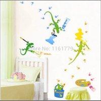 Cheap Wholesale PVC wall stickers stickers stick watercolor gecko cartoon animals - TC2094 decorate children room