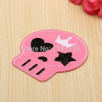Wholesale x5 cm Cute Skull Heads Patches Iron On Ironing Felt Applique Sewing Fabric Embroidered Motif Patch