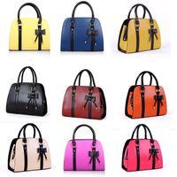 hard ten days - Newest women elegant handbags korea fashion designer pu tote bags for women ten candy colors bowknot lady handbags hard roll Square zipper