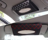 Wholesale Wine Red Sun Visor Tissue Box High end Car Leather Tissue Box with Tissue Two Color Optional