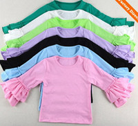 baby girl shirts - 2015 Hot Sale Kids Wear Harem tops Baby ruffle shirts girls Ruffle outfit long sleeves tops Girls Ruffle tutu tops Y