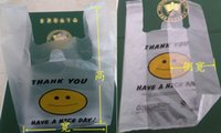 t-shirt bags - 2015 Size X10X32cm thickness microns thank you smiley face on t shirt shopping bags and support custom all kinds of style logo