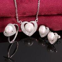 genuine diamond jewelry - Heart Earrings necklace ring Weding set Original Genuine Pearl k Golden s064 gift box free New Fashion Jewelry