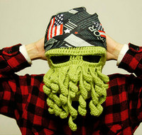active retail print - Retail Winter Beanies Caps Wool Knitting Cthulhu Ski Mask Octopus Hat Octopus Cap Funny Hat Christmas Fashion Adult Hat Tentacles
