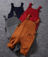 bib fashion pants - 1 Y Children Suspender Trousers Spring Fashion Unisex Pocket Knitted Overalls Jumpsuits Kids Candy Color Bib Harem Pants Baby Clothing