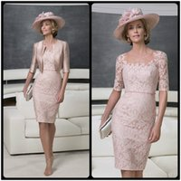 rose water - Newest Rose Gold Mother of the Bride Dresses with Jacket Lace Half Sleeve Knee Length Sheer Scoop Neck Mother of he Bride Lace Dresses