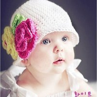 Wholesale 100 cotton wool knitting Kids hat big flower handmade Children baby Accessories ba140