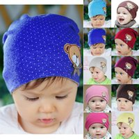 al por mayor ganchillo bebé lleva-El bebé recién nacido de las ventas calientes embroma los casquillos lindos fx305 de los sombreros de la gorrita tejida del algodón del oso del ganchillo del sombrero de los niños que envían libremente