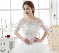 Wholesale Elegant sweet Ivory Free size Sleeveless Lace Flower Organza Wrap bridal jackets wedding wrap bride wrap
