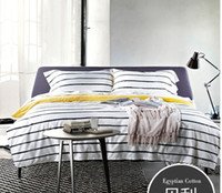 Cheap Black and white striped Egyptian cotton bedding set grey sheets luxury king queen size quilt duvet cover bed in a bag bedspreads bedcover