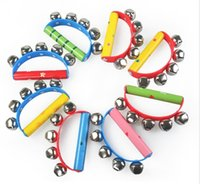 Wholesale 2015 Kids Boys Girls Activity Hand Ring Bell Toys Noisemaker Bells Shake Wood Sharking Rings Kids Children Birthday Gift Wooden Toy D3761