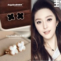 Wholesale New Jewelry Titanium k Rose Gold Plated Lucky Black Clover Women Earring