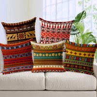 Wholesale African National Bohemian style stripes patterns pillowcase home decorative cotton linen throw pillow cushion cover for sofa chair car