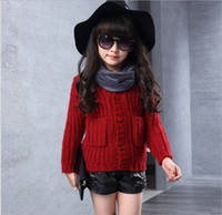 Wholesale Big Girls Boys Cardigan Sweaters Children s Knitted Sweatershirt Outwear Kids Clothing Autumn Winter Thicken Clothes Child Sweater Coats