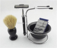 shaving brush - ree shipping set Shaving brush many style Soap Bowl stainless steel Shaving Stand Rack Manual Shaver Razor Blades Shaving Brus