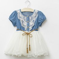 Sewing Stitch - 2015 Summer European and Ammrican Style Girls Denim Stitching Lace Decoration Vest Vest Pocket Button Sewing