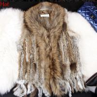 Wholesale 2015 Plus Size Real Rabbit Fur Vest Warm Women Waistcoat Knitted Genuine Fur Coat Jacket Gilet Sleeveless Tassels Vests Hot Winter SV005511