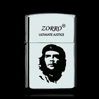 antique silver lighters - Piece HongKong Zorro Metal Antique Silver Che Guevara Revolution Idol Kerosene Oil Refillable Windproof Cigarette Lighter