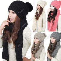 Wholesale 2015 New fashion Women girls Winter Knitted Scarf and Hat Set Thicken Knitting Skullcaps SV011447