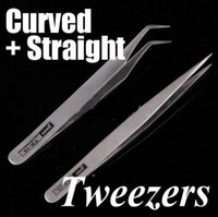 Wholesale 2 Nonmagnetic Stainless Steel Curved Straight Tweezers stainless steel tweezers mobile DIY phone repair