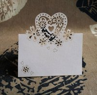 Wholesale Free shiping Love Heart Laser Cut Wedding Party Table Name Place Cards Favor Decor