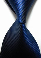 Wholesale Men s Tie New Striped Royal Dark Blue JACQUARD WOVEN Men s Tie Necktie