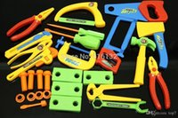 Wholesale Christmas gifts ABS plastic garden tool multicolor toys set boys birthday gift Pliers hammers saws bolt pen knife set A