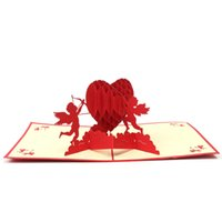 Wholesale 3D Pop Up Greeting Card Paper Carving Cupids Heart For Lover Anniversary Valentine Day Wedding Invitation Cards