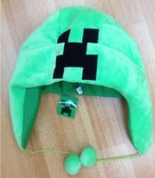 Wholesale Creative Minecraft Creeper Winter Hats Minecraft Ear Muffs Plush Hat Fashionable Minecraft Creeper Hats DHL