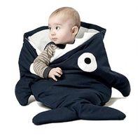 bedding for baby - 2016 Envelope Shark Bites Baby Sleeping Bag For Winter Strollers Bed Swaddle Blanket Wrap Cute Cartoon Newborns Bedding Sleep sacks