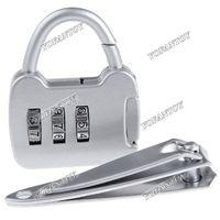 mini padlock - 40pc Mini Combination Padlock Digit Safe PIN Combination Padlock Lock Resettable Code with Nail Clipper
